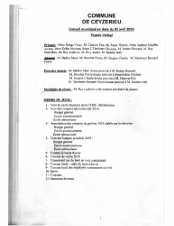 Compte-rendu du conseil municipal du 05 Avril 2019